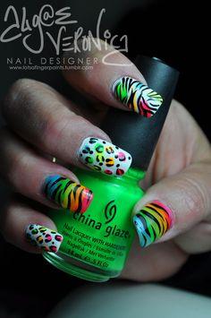 Neon animal print nails by Algae Veronica - cute-tattoo Neon Nails, Love Nails, Diy Nails, Cheetah Nails, Fancy Nails, Trendy Nails, Tumblr Nail Art, Nails After Acrylics, Creative Nails