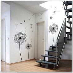 Dandelion Flowers Wall Stickers - stair way wall?