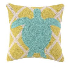 Beach Decor Bold Sea Turtle Hook Pillow