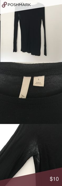 Black long sleeve fitted top Black fitted long sleeve top. Semi-sheer from Nordstrom. Brand is frenchi. Worn as shown in photos Frenchi Tops Tees - Long Sleeve
