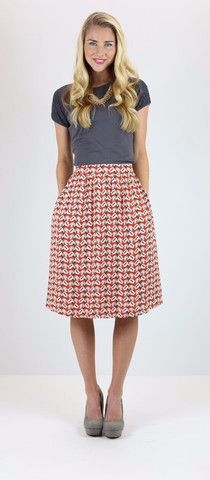 Orange Shell Skirt - knee length modest skirt with a cute tiny shell print