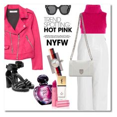 """NYFW 2018 PINK"" by vkmd ❤ liked on Polyvore featuring Topshop, MSGM, MANGO, Christian Dior, Gucci, Yves Saint Laurent, Lipstick Queen, contestentry and NYFWHotPink"
