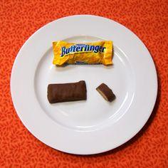 1 FUN size Butterfinger bar = 85 calories 1 and 1/4 FUN size Butterfinger bars = 106 calories #easter #100calories