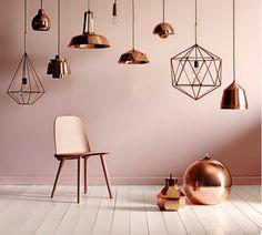 Various Rose Gold Bedroom Ideas Copper Lamps -trend Koper In Je Interieur Lifestyle Wonen Ideas Rose Gold Wall Paint, Gold Painted Walls, Wall Paint Colors, Gold Walls, Copper Floor Lamp, Copper Lamps, Copper Lighting, Copper Room, Copper Decor
