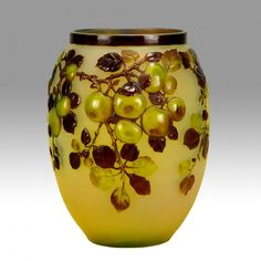 Emile Galle blown art glass vase with apples