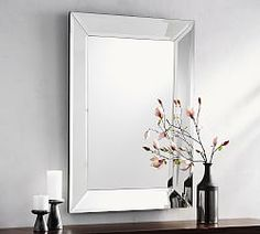 Beveled Glass Rectangular Mirror, 30 x Beveled Mirror, Beveled Glass, Recessed Medicine Cabinet, Small Entryways, Wall Candle Holders, Antique Glass, Engineered Wood, Pottery Barn, Bath Mirrors