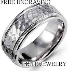 MENS WOMENS 7MM 10K WHITE GOLD WEDDING BANDS RINGS ~ SIZES 4-13~ HAMMERED FINISH…