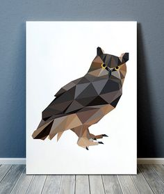 Low-poly animal art prints by animalgeometry Animal Art Prints, Bird Prints, Bird Poster, Geometric Decor, Geometry, Wall Art, Creative, Illustration, Low Poly