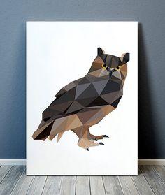 Low-poly animal art prints by animalgeometry Animal Art Prints, Bird Prints, Bird Poster, Geometric Decor, Geometry, Wall Art, Creative, Illustration, Handmade