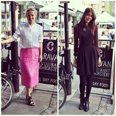 #PushWears with Victoria and Tanya. Sequinned midi skirt versus prim pinafore.