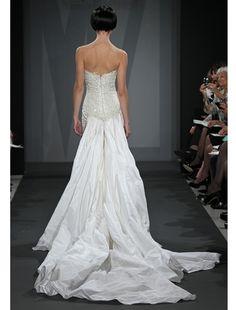 Back: Mark Zunino A-Line Wedding Dress with Sweetheart Neckline and No Waist/Princess Seams Waistline