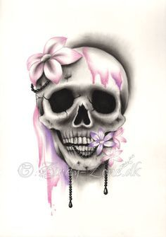Sweet Decay Skull Flower Pink Purple Girl Tattoo Pearls Art Print Emo Fantasy Girl Zindy Nielsen - Tatouage Sweet Decay Skull Flower Pink Purple Girl par zindyzone The Effective Pictures We Offer Yo - Hand Tattoos, Sugar Skull Tattoos, Sugar Skull Art, Flower Tattoos, Body Art Tattoos, Sleeve Tattoos, Neck Tattoos, Tattoo Girls, Skull Girl Tattoo