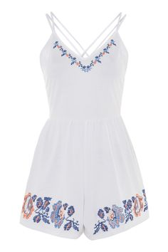 Embroidery Strappy Playsuit