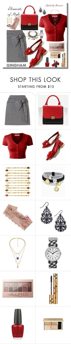 """""""Gingham Poplin Skirt Outfit"""" by mozeemo ❤ liked on Polyvore featuring LE3NO, LC Lauren Conrad, Marc Jacobs, Betsey Johnson, Thalia Sodi, Timex, Maybelline, Yves Saint Laurent and OPI"""