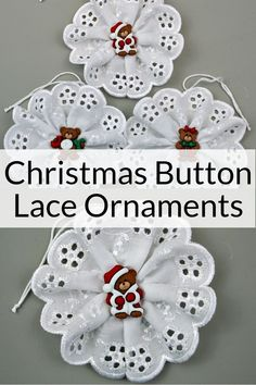 Christmas Button Lace Ornament Tutorial - Easy Kids Christmas Craft - These adorable Christmas Button Lace Ornaments are an easy kid's craft to encourage beginner sewi - Easy Sewing Projects, Sewing Projects For Beginners, Sewing Hacks, Sewing Crafts, Christmas Buttons, Kids Christmas, Christmas Ornaments, Christmas Button Crafts, Christmas Crafts Sewing