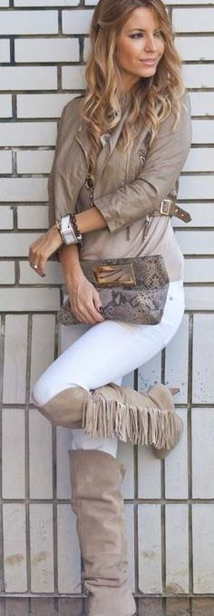 casual edgy street wear + fringe knee high suede boots + python clutch + leather moto jacket + taupe and white.