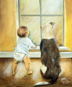 """Daddy's Coming!"" Oil on Canvas. Commission from the grandmother.  I just had to paint a little girl to go with him and they are some of my prints. by Connie Baten"