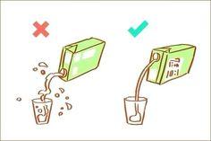 O jeito certo de servir leite ou suco de caixinhas
