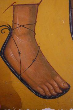 Pie lateral con sandalia