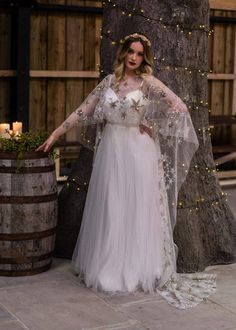 Wedding Dresses Plus Size, Bridal Dresses, Reception Dresses, Lace Dresses, Starry Night Wedding, Midnight Wedding, Bridal Tops, Star Wars Wedding, Celestial Wedding