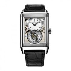 See the Jaeger-LeCoultre Reverso Tribute Gyrotourbillon watch - Movement : Manual-winding mechanical - Case : Platinum High End Watches, Cool Watches, Watches For Men, Wrist Watches, Men's Watches, Jaeger Lecoultre Reverso, Jaeger Lecoultre Watches, Rolex, Tourbillon Watch