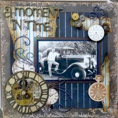 A Moment in Time ~ Masculine heritage page with torn paper borders and vintage clock faces.