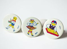 Kids playing dancing badges set of 3 primitive by SovietEra