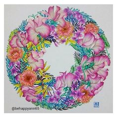 A really bright and cheerful colouring of my Sweetpeas illustration by @behappyann65 - Happy Thursday!! #repost