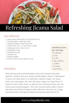 Stress-Busting Recipe Refreshing Jicama Salad full of Vitamin C. #mealplanning #mealplanningguide #healthymom #healthyeating #fitness