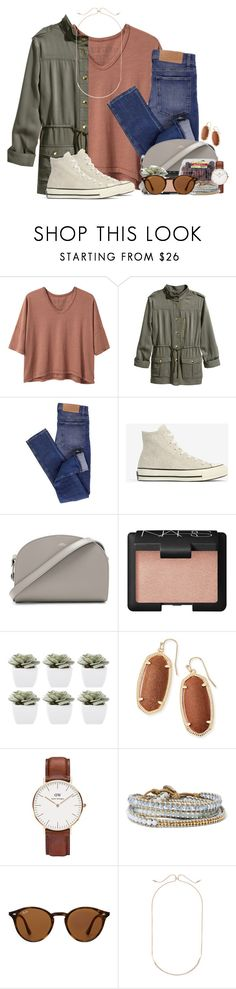 """Annndd we're back to school:("" by annaewakefield ❤ liked on Polyvore featuring Alexander Yamaguchi, H&M, Cheap Monday, Converse, A.P.C., NARS Cosmetics, Abigail Ahern, Kendra Scott, Daniel Wellington and Chan Luu"