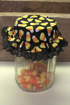 6 Candy Corn Mason Canning Jar Bonnets/Jar by KathysHeartCreations