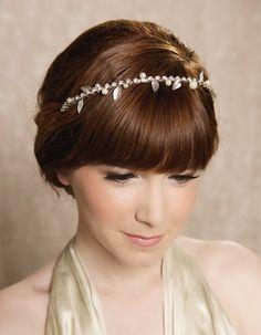 Silver or Gold Pearl Bridal Hair Piece, Bridal Headband, Rhinestone Headband, Bohemian Bride Halo, Crown, Wedding Headpiece - STEPHANIE