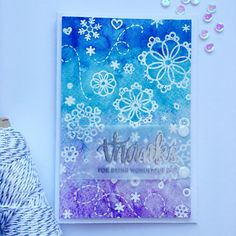 #SSSFAVE 2016 Simon Says Stamp January Card Kit - I used the entire stamp set to create my watercolor resistant background and then watercolored the panel in the color shades of this month's kit. The sentiment I used is from #SSSJanuary card kit of 2015
