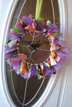 Happy Halloween, Trick or Treat, black, orange, green, purple tulle, rag wreath www.facebook.com/myheartofjoy