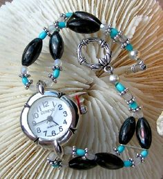 Watch Turquoise Silver Shell #HAS #HAF #HAFshop #handmade $40.00