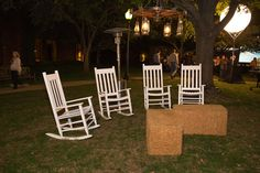 Rocking Chairs with Hay Bale Ottomans