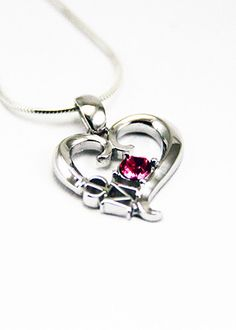 Phi Mu Sterling Silver Heart Pendant with Swarovski™ Rose Crystal