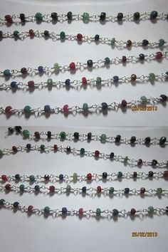 Other Sapphires 164408: 36 Inch Multi Color Emerald And Ruby And Sapphire Fec. Gems Beads Silver Polish Cha -> BUY IT NOW ONLY: $36.8 on eBay!