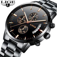 ac57b983b48 LIGE Homens Relógio Do Esporte Da Forma Relógio de Quartzo Mens Relógios  Top Marca de Luxo Completa Steel Business Relógio À Prova D  Água Relogio  masculino ...