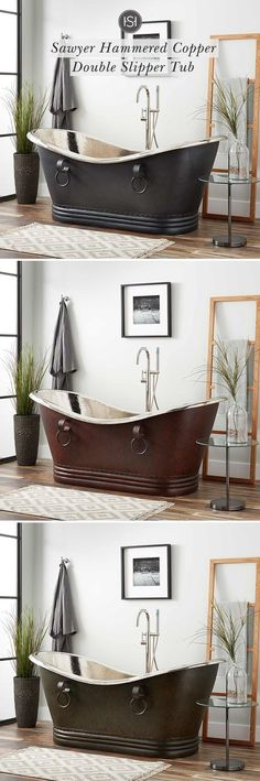 Gorgeously handcrafted copper bathtubs make an excellent focal point in any bathroom update. Made of sturdy metal, copper tubs are built for everyday use. In sizes ranging from to many finishes are available such as smooth, hammered, nic Bathroom Renos, Bathroom Fixtures, Master Bathroom, Beautiful Bathrooms, My Dream Home, Farmhouse Decor, Decoration, House Plans, Sweet Home