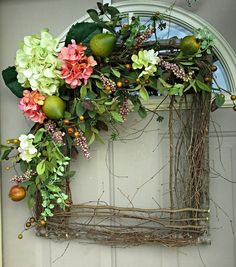 Fruit & Flowers square wreath... Gorgeous for year round use... Spring wreaths, summer Wreath, Mother's Day Gift, unique, one of a kind