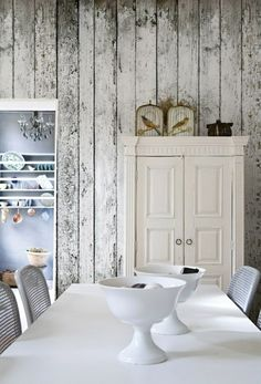 Esszimmer Wandgestaltung Schöne Ideen Tapete Holzoptik