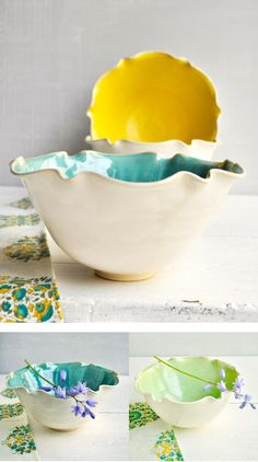 Minimalist flower bowls in Spring glazes from Lee Wolfe Pottery — beautiful Mothers Day gifts