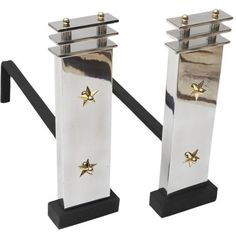 Art Deco Aluminum and Brass Andirons - A Pair (6,350 ILS) ❤ liked on Polyvore featuring home, home decor, fireplace accessories, andirons & chenets, brass home accessories, brass fireplace accessories, brass andirons and solid brass andirons