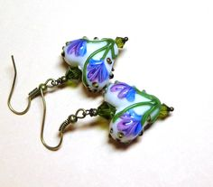 Jewelry, Earrings, White, Lavender, Green, Lampwork Valentine Hearts, Swarovski Austrian Olivine Crystals, Silver. $8.00, via Etsy.