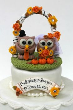 Hey, I found this really awesome Etsy listing at https://www.etsy.com/listing/178220932/custom-wedding-owl-cake-topper-with