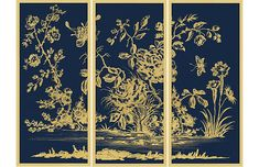 Seen first at One Kings Lane: This eye-catching triptych offers a modern take on a traditional chinoiserie motif printed on gold leaf for added flair. Each piece is displayed under glass in a wood frame. Arrives ready to hang. Chinoiserie Motifs, Chinoiserie Wallpaper, Grace Art, Gold Leaf Art, Art Deco Decor, Painted Chest, Stained Glass Art, Triptych, Celerie Kemble