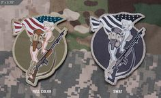 The Mil-Spec Monkey BAR-Girl Patch is kicking it old school doing a patriotic and sexy pinup design! Girls Be Like, Pin Up Girls, Tad Gear, Patch Shop, Cool Patches, Morale Patch, Swat, Tactical Gear, Old School