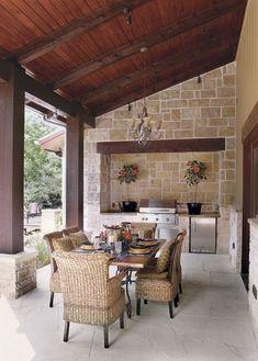 Outdoor Kitchen Trends Worth Savoring | Home Channel TV Outdoor Kitchen Countertops, Patio Kitchen, Outdoor Kitchen Design, Patio Dining, Patio Table, Kitchen Decor, Kitchen Ideas, Outdoor Kitchens, Kitchen Rustic