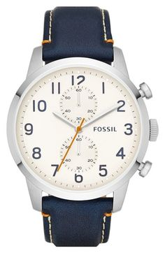 Fossil 'Townsman' Chronograph Leather Strap Watch, 44mm